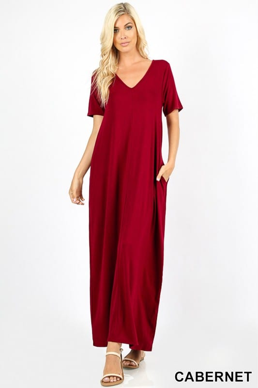 V-Neck Short Sleeve Maxi Dress w/ Side Pockets