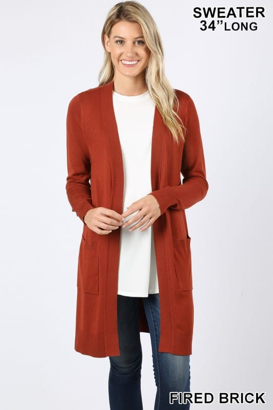 Open Cardigan Sweater w/ Pockets (Plus)