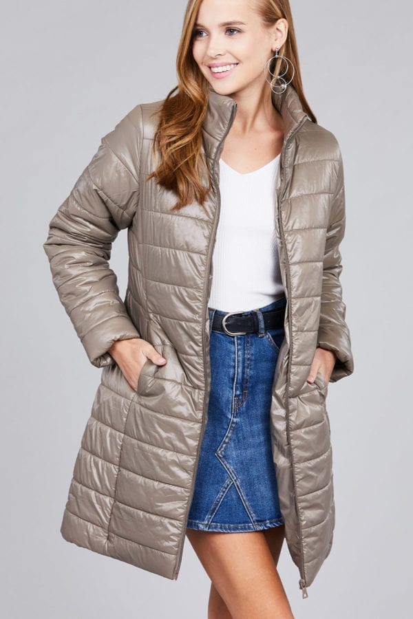 Long Sleeve Quilted Long Padding Jacket (Plus)