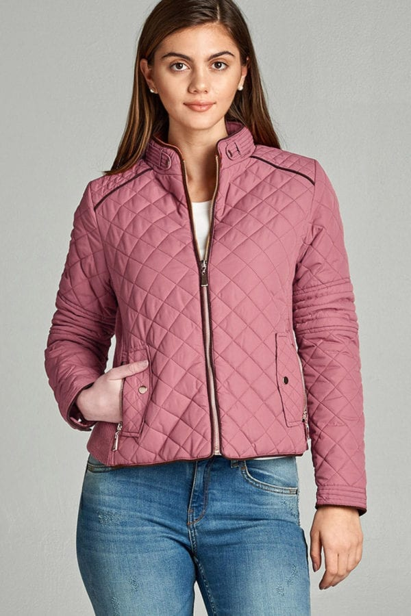 Quilted Padding Jacket w/ Suede Piping Details (Plus)