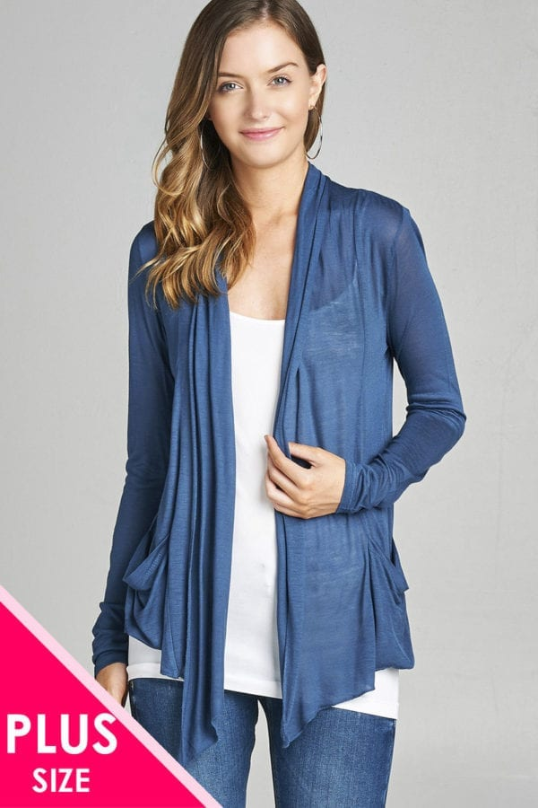 Long Sleeve Flyaway Cardigan w/ Side Pockets (Plus)