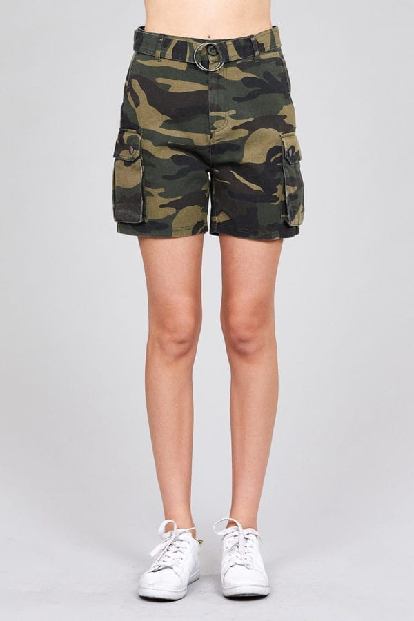 High Waist Camo Print Cargo Short Pants