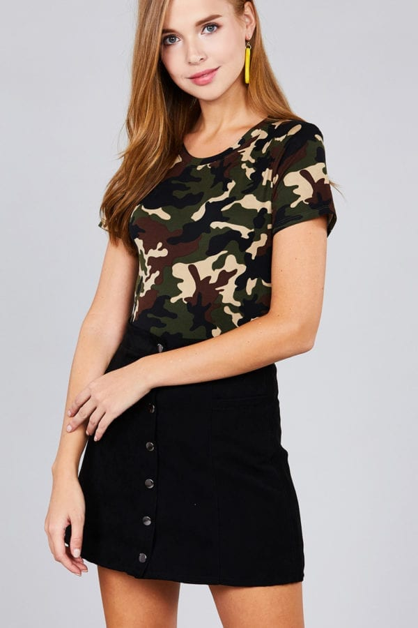 Short Sleeve Crew Neck Camo Print DTY Brushed Bodysuit