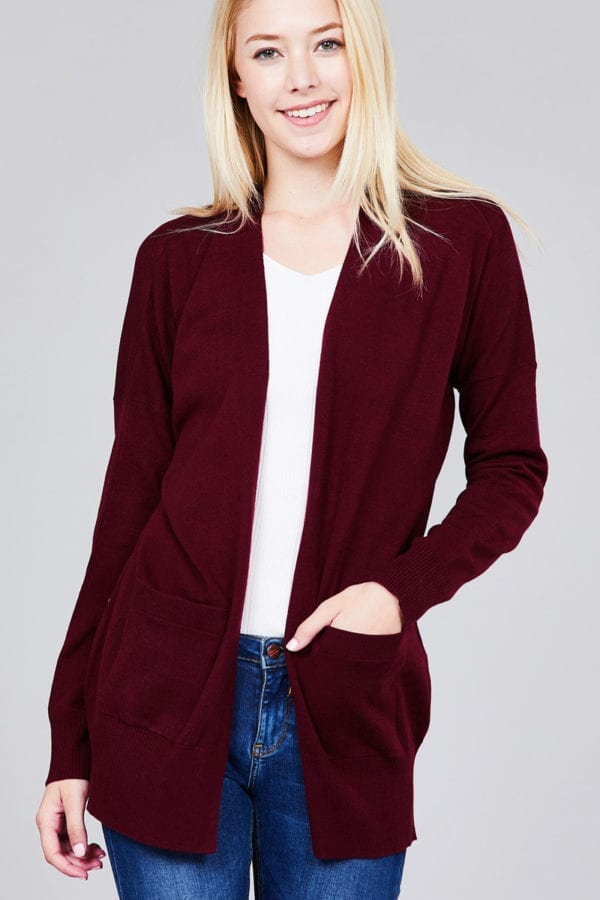 Long Dolman Sleeve w/ Pocket Sweater Cardigan (Plus)