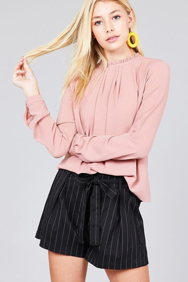 3/4 Roll Up Sleeve Crew Neck w/ Ruffle Woven Top