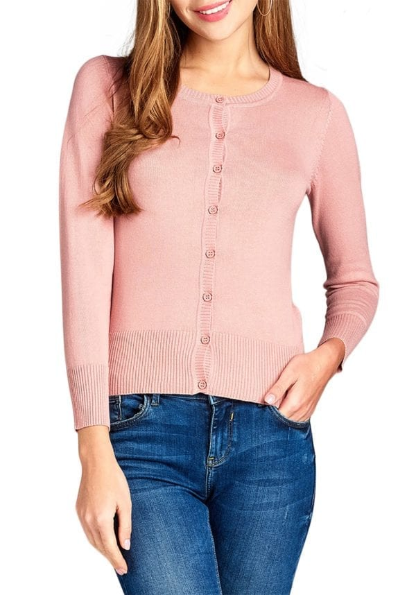 Button Up Crew Neck Cardigan Sweater (Plus)