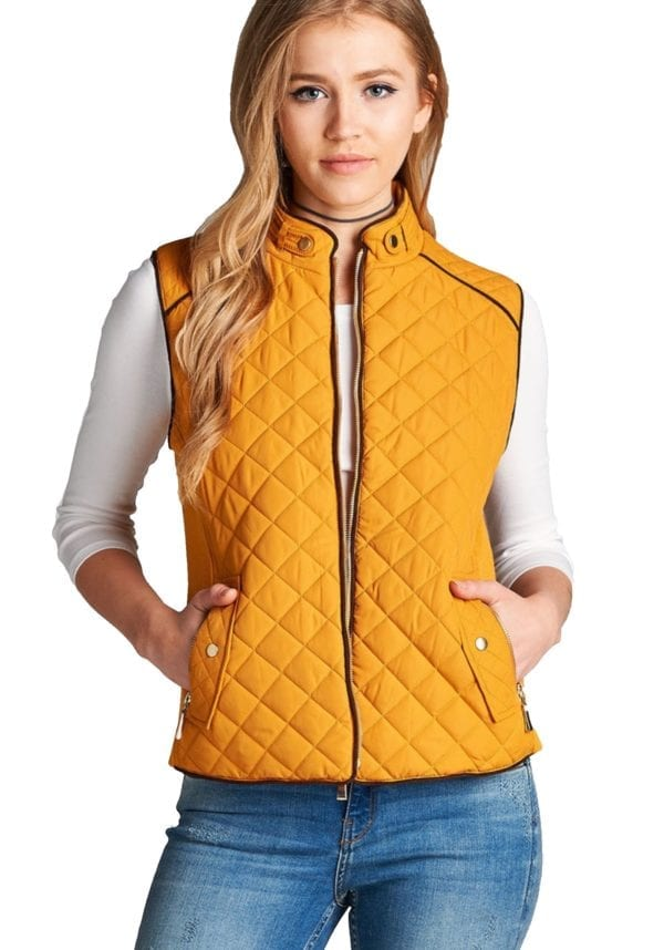 Quilted Padding Vest w/ Suede Piping Details