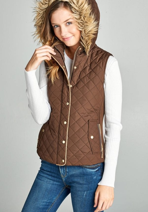 Quilted Padding Vest w/ Fur Trimmed Hood