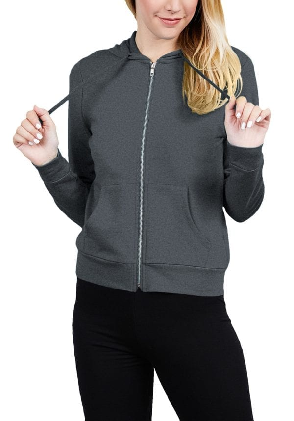 French Terry Zip-Up Front Kangaroo Pocket Hoodie Top (Plus)