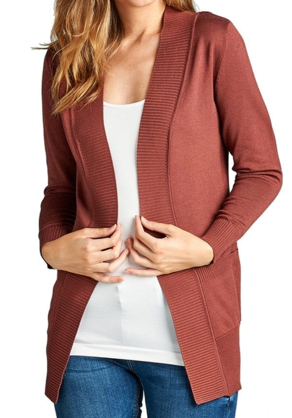 Rib Banded Open Sweater Cardigan w/ Pockets (Plus)