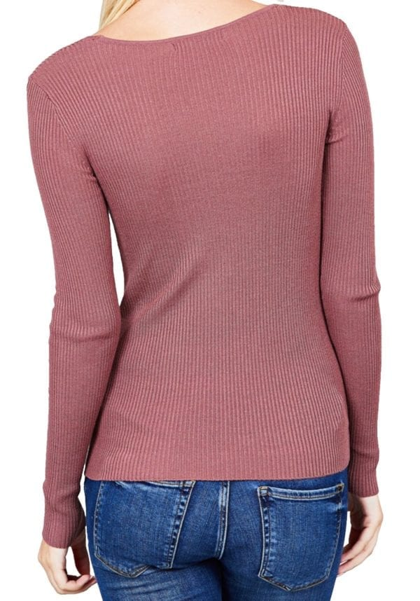 Long Sleeve V-Neck Fitted Rib Sweater Top