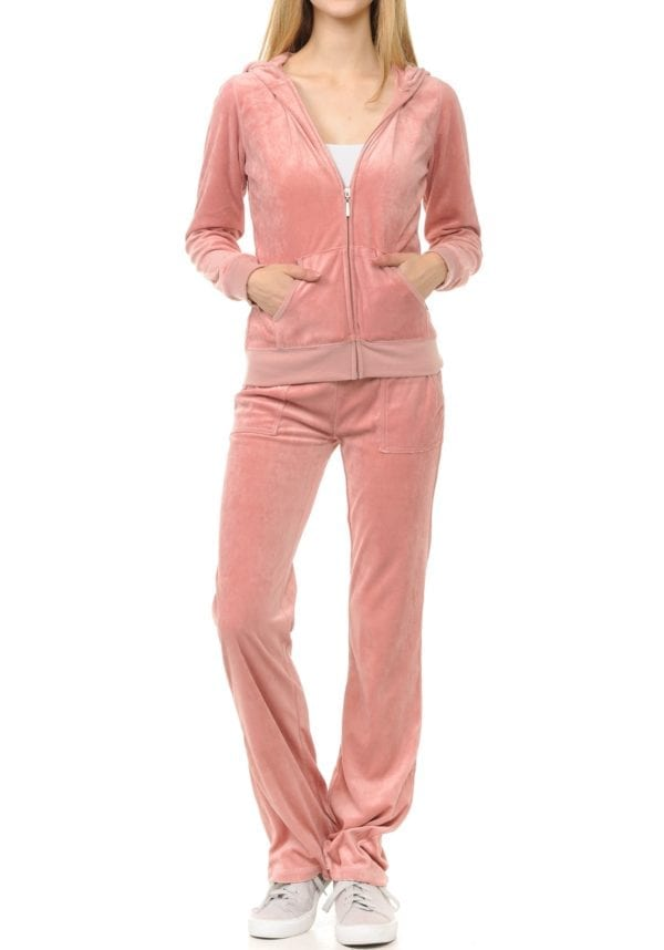 Lightweight Hoodie & Sweatpants Velour Loungewear Set