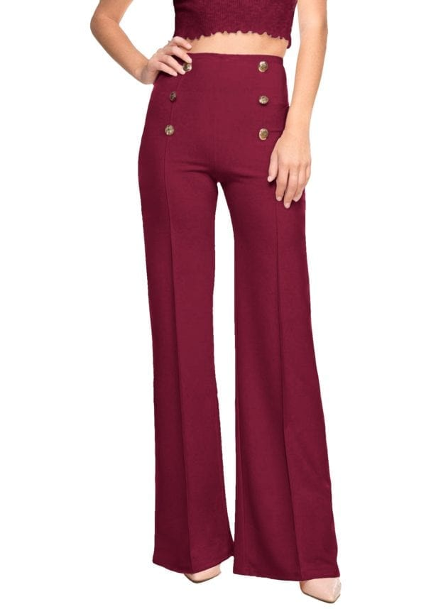 Stretch Flare Sailor Dress Pants Fitted w/ Button Detail