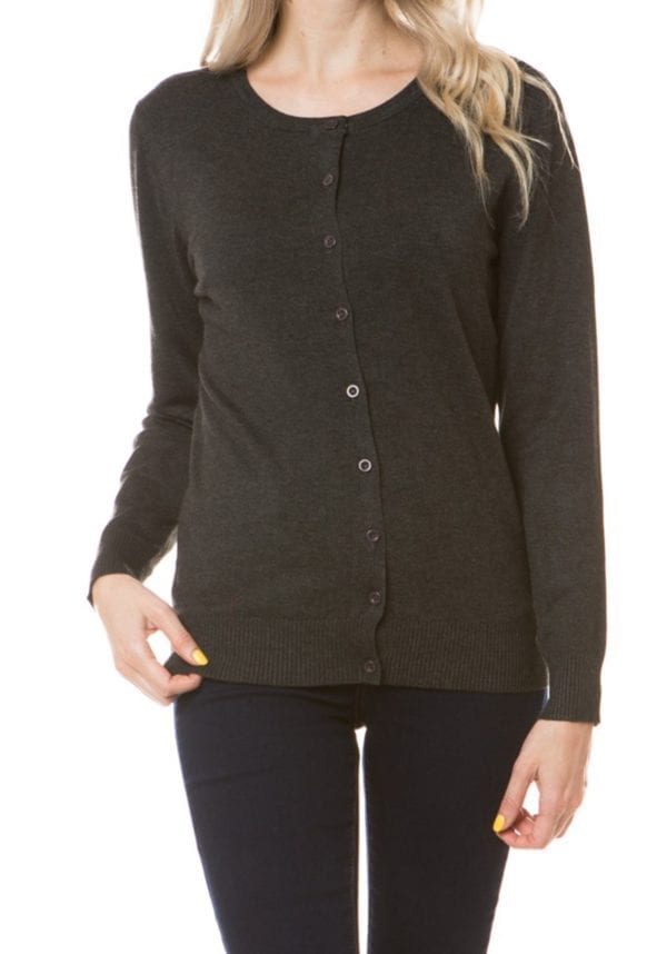 Long Sleeve Classic Premium Button Up Crew Neck Cardigan