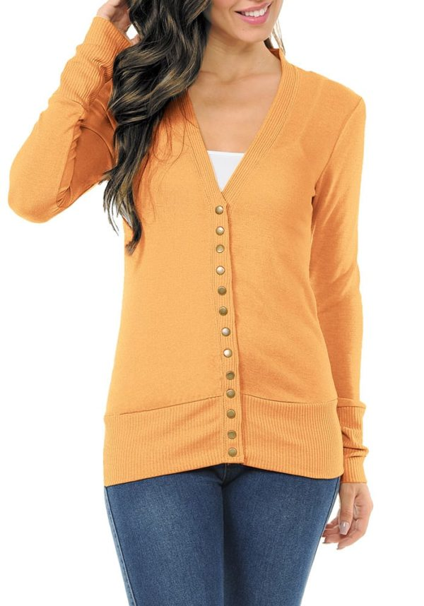 Long Sleeve Snap Button Sweater Cardigan w/ Ribbed Detail