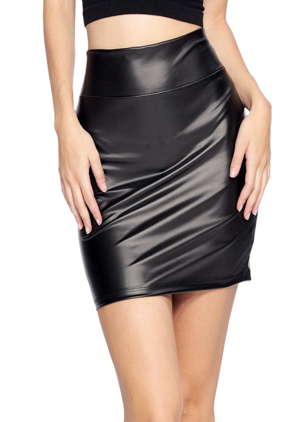 Sexy Stretchy Faux Leather High Waist Black Mini Skirt