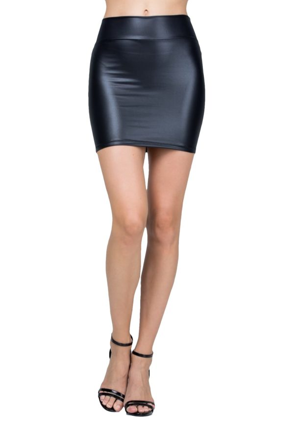 Sexy Stretchy Faux Leather High Waisted Black Mini Skirt