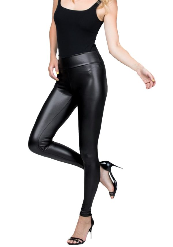 Sexy Stretchy Faux Leather Mid Waist Black Leggings