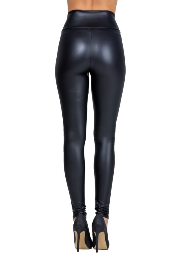 Sexy Stretchy Faux Leather High Waist Black Leggings
