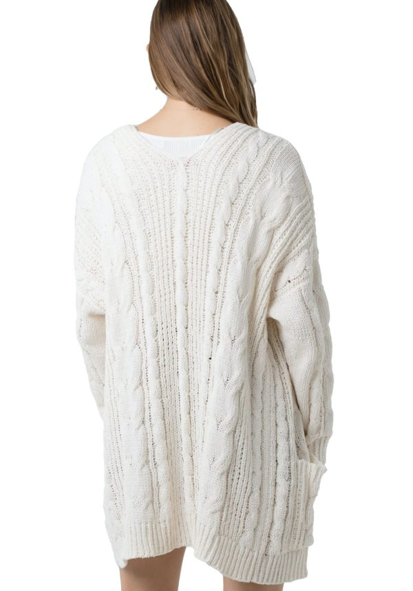 Chunky Cable Knit Ribbed Open Front Long Sleeve Cardigan