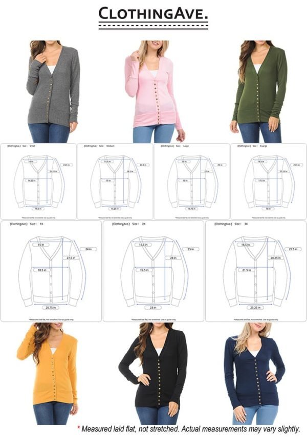 Long Sleeve Snap Button Sweater Cardigan w/ Ribbed Detail (Plus)