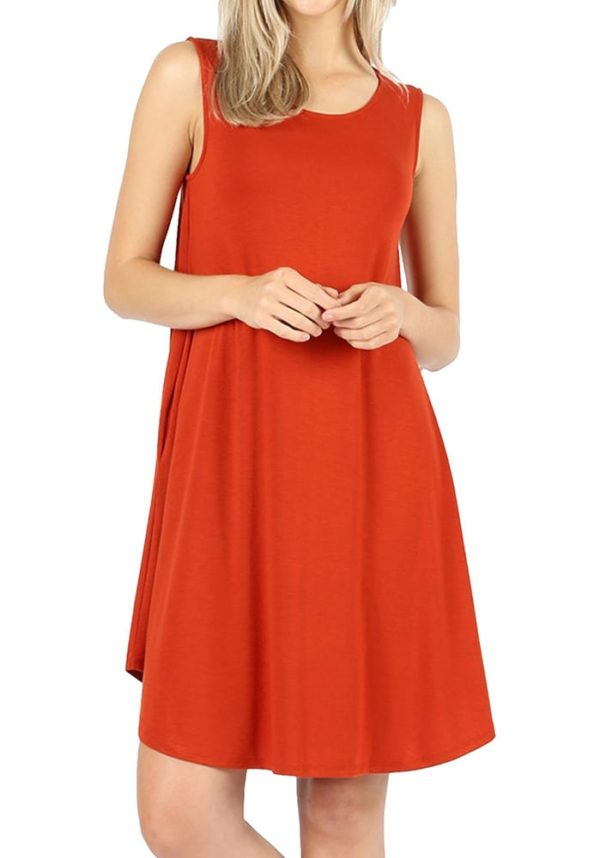 Sleeveless Round Hem Swing Dress w/ Side Pockets