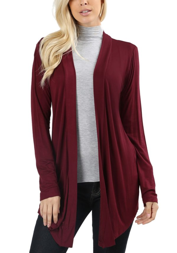Long Sleeve Lightweight Open Front Drape Cardigan (Plus)