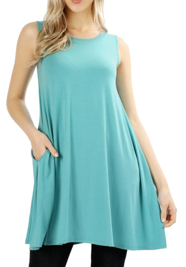 Premium Round Neck Sleeveless Tunic w/ Side Pockets