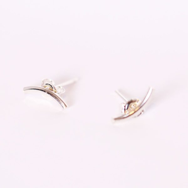 Silver Bar Curved Earring