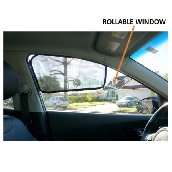 Car Side Window Sun Shade - Universal Reversible Magnetic Curtain for Driver or Passenger with Sun Protection Block Damage from Direct Bright Sunlight, and Heat - 1 Piece of Front Black Mesh