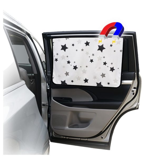 Car Side Window Sun Shade - Universal Reversible Magnetic Curtain for Baby and Kids with Sun Protection Block Damage from Direct Bright Sunlight, and Heat - 1 Piece of Star