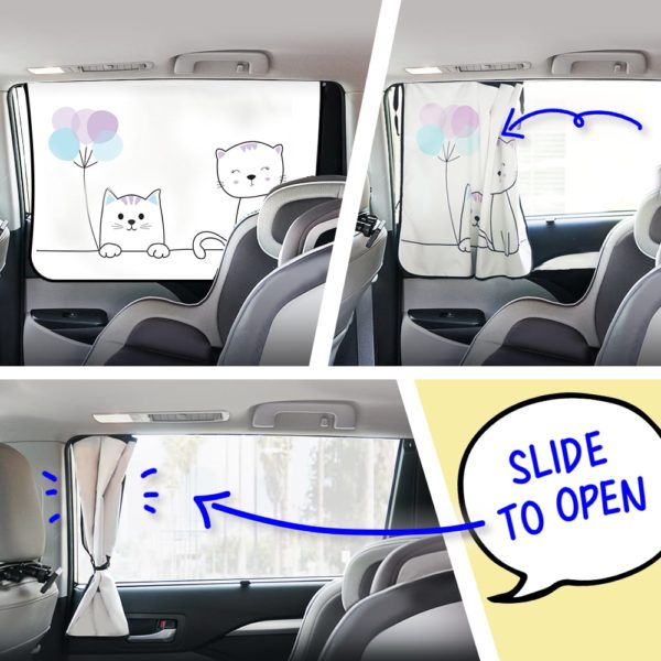Car Side Window Sun Shade - Universal Reversible Magnetic Curtain for Baby and Kids with Sun Protection Block Damage from Direct Bright Sunlight, and Heat - 1 Piece of Cat