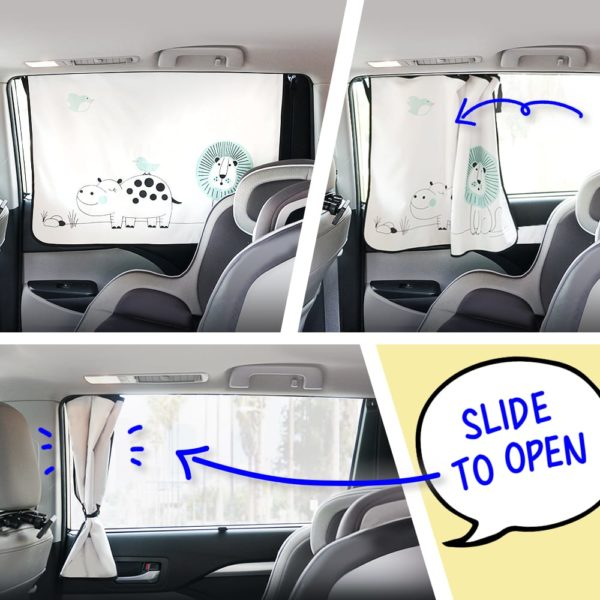 Car Side Window Sun Shade - Universal Reversible Magnetic Curtain for Baby and Kids with Sun Protection Block Damage from Direct Bright Sunlight, and Heat - 1 Piece of Lion