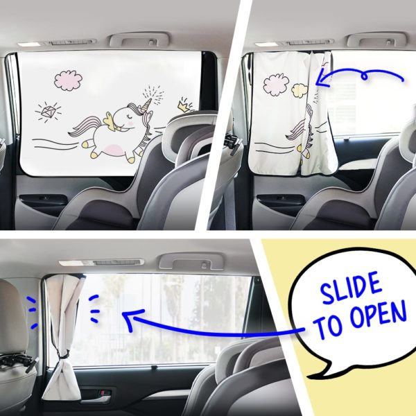 Car Side Window Sun Shade - Universal Reversible Magnetic Curtain for Baby and Kids with Sun Protection Block Damage from Direct Bright Sunlight, and Heat - 1 Piece of Unicorn