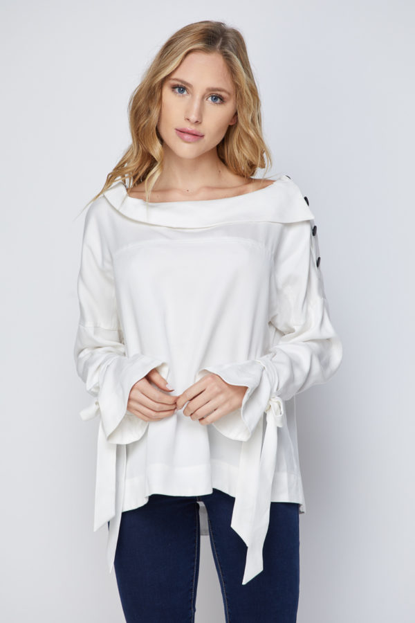 Premium Tencel Asymmetric Modern Collar Blouse with Strap