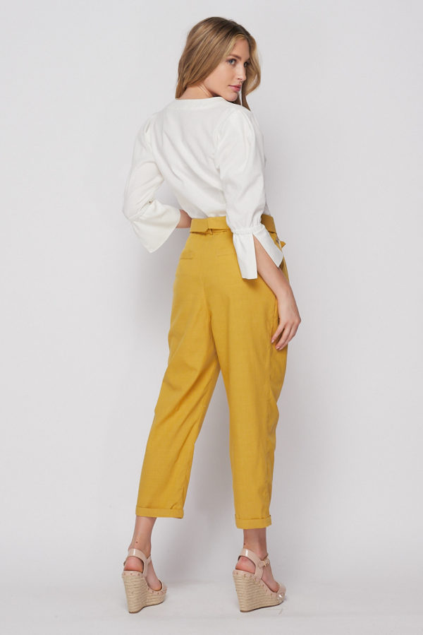 Belted Paperbag Waist Tapered Pants