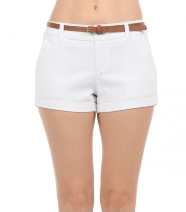 Woven Brushed Comfy Fitted Low Rise Cuffed Casual Stretch Walking Chino Shorts