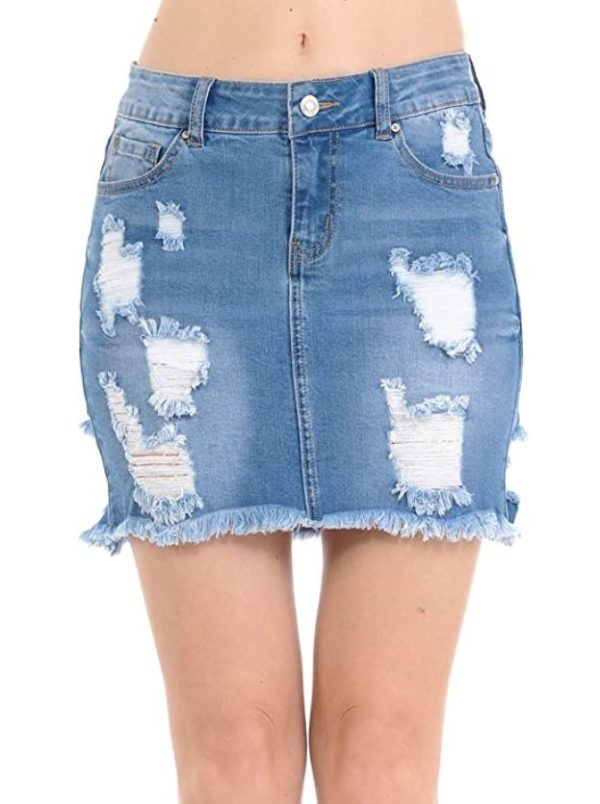 Women's Sexy Casual Destroyed Hem Frayed Side Denim Mini Skirts with Back Pockets (Size S to 3X)