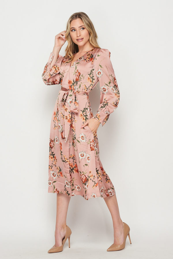 Lovely Floral Printed Long Sleeve Wrap Dress Mauve Multi Floral