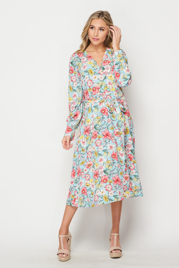 Lovely Floral Printed Long Sleeve Wrap Dress Blue Pink Multi Floral