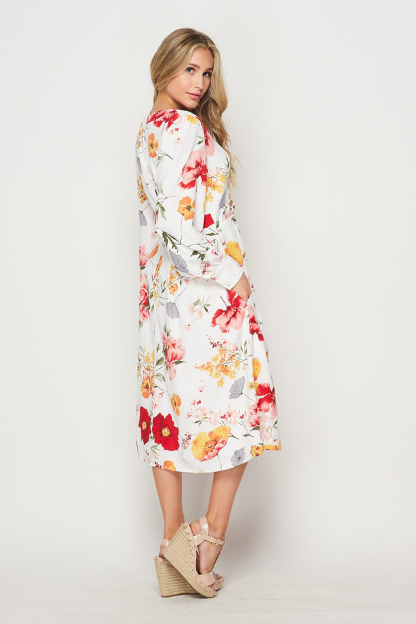 Sweety Sun-Kissed Ivory Floral Printed Faux Wrap Midi Dress with Button