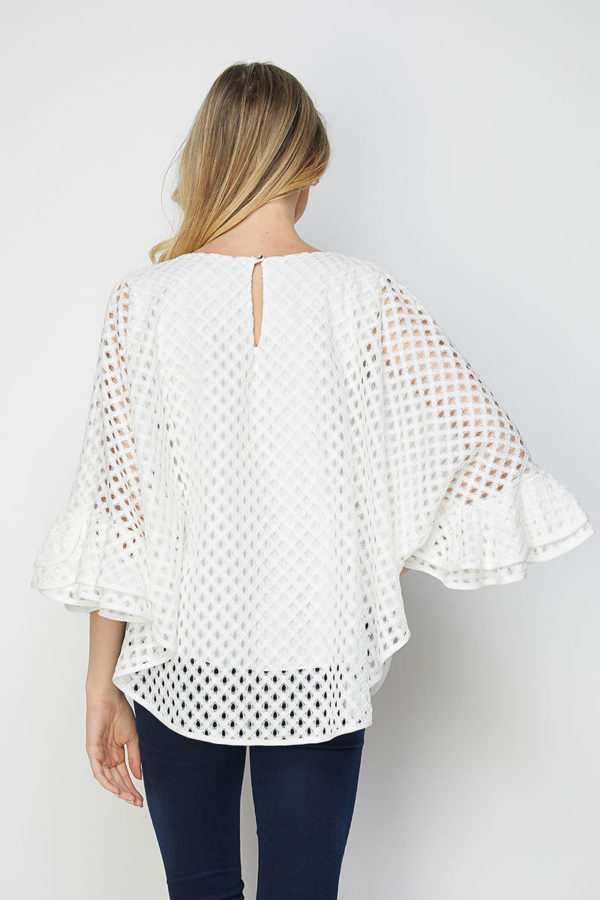 Isn't She Beautiful Cream Embroidered Cotton Eyelet Ruffle Top