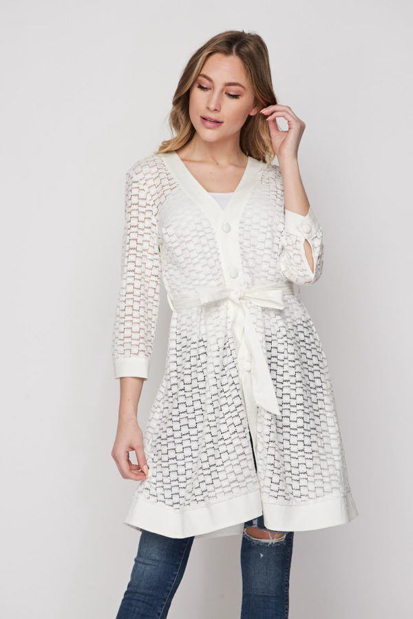 Playing Tourist Cream Eyelet Cover-up Shirt Blouse Tunic