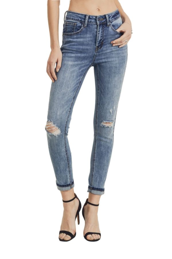 Women's Denim High Waist Knee Busted Skinny Jeans with Roll Up Cuff Light Blue Jeans