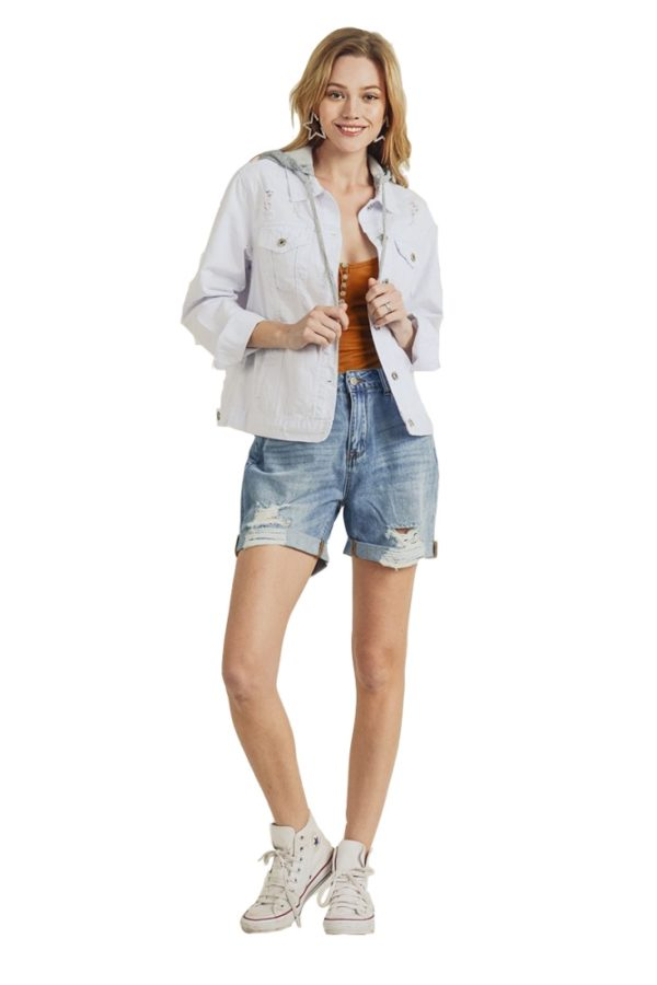 Women's White Denim Jacket Relaxed Fit with Detachable Hoodie