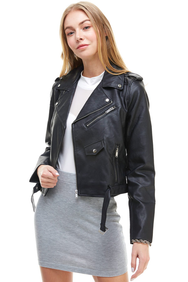 Women's Classic Slim Fit Faux Leather Zip Up Biker Jacket Motorcycle