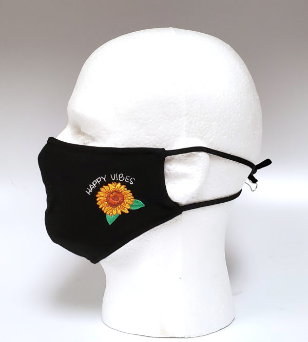 Embroidery Mask, Fashion Mask, Face Masks, Fabric Mask Washable Cotton Mask (Sun Flower-Happy Vibes)