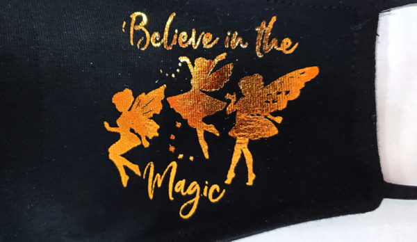 Foil Printing Mask, Gold Mask, Fashion Mask, Face Masks, Fabric Mask Washable Cotton Mask (Believe in the magic)