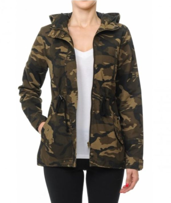 Women's Hooded Camo Anorak Jacket Lightweight Army Camouflage Print Military Half Coat
