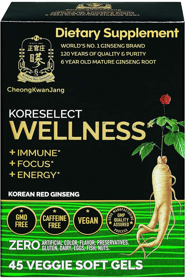 KoreSelect Wellness Family Immunity Care. All-Natural Daily Supplement with Korean Red Panax Ginseng Root and Cacao Extract. Non-GMO, Gluten-Free, Caffeine-Free, No Artificial Coloring or Preservatives - 45 Vegan Softgels